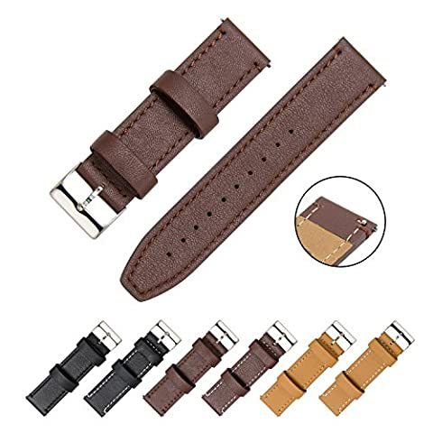 CIVO Watch Strap - Quick Release Top Genuine Grain Leather Watch Bands Smart Watches Band Stainless Steel Buckle 18mm 20mm 22mm with Top Spring Bar Tool and 2 Quick Release Spring Bars Bonus (Dark Brown Leather / Dark Brown Stitching,