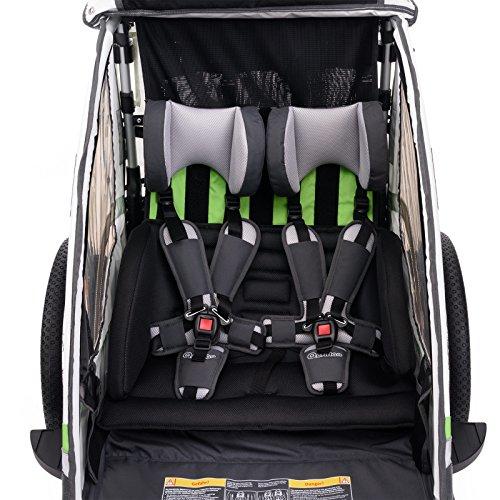 Qeridoo Sportrex 2 Deluxe (inkl. Sitzpolster) Kinder-Fahrradanhänger für 2 Kinder (mit einstellbarer Federung) – grün - 4