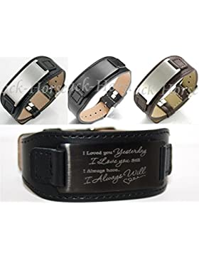 ID Leder Armband mit Edelstahlplatte inkl. Gravur nach Wunsch in 3 Farben + Box