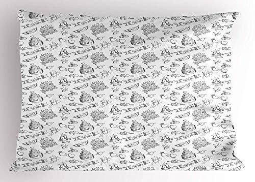 Wedding Pillow Sham, Monochrome Festive Day Illustration with Ornate Cake Hearts and Floral Bouquets, Decorative Standard Queen Size Printed Pillowcase, 30 X 20 inches, Black White Ornate Wedding Cake