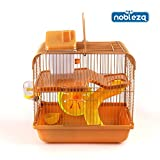 Nobleza 021383 - Jaula Para roedores, Color Marrón con Tobogán y Una Rueda. Medidas: Largo 28 cm x...