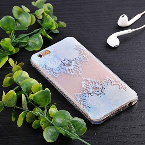 Custodia iPhone 6 Plus, iPhone 6S Plus Cover Silicone Trasparente, SainCat Cover per iPhone 6/6S Plus Custodia Silicone Morbido, Shock-Absorption Custodia Ultra Slim Transparent Silicone Case Ultra So Foglie Bianche