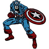 """CAPTAIN CAPITÁN AMERICA'S PATCH,PARCHE Officially Licensed Marvel's The Avengers Comic Superhero Artwork,ilustraciones Iron-On / Sew-On, 3.75"""" x 3.6"""" Embroidered bordado PATCH PARCHE"""