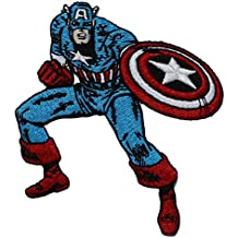 "CAPTAIN CAPITÁN AMERICA'S PATCH,PARCHE Officially Licensed Marvel's The Avengers Comic Superhero Artwork,ilustraciones Iron-On / Sew-On, 3.75"" x 3.6"" Embroidered bordado PATCH PARCHE"