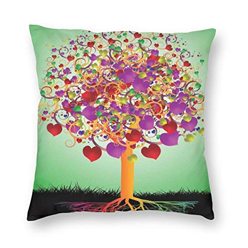 Papalikz Tree of Life Throw Pillow Cushion Cover,Colorful Magic Love Valentines Tree Blossomed Heart Round Leaves and Roots,Decorative Square Accent Pillow Case 20