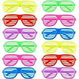 Ouinne 12 Pares Fiesta Gafas, Juguete Gafas de Sol Disfraz Diversión Gafas de Persiana -