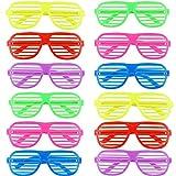 Ouinne 12 Pares Fiesta Gafas, Juguete Gafas de Sol Disfraz Diversión Gafas de Persiana - 6 Colores