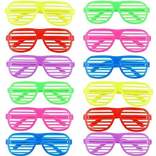 Ouinne 12 Paar Shutter Shades Brille Gläser, Mode Kunststoff Jalousien Brille Sonnenbrille für Kostüm Party Club Tanz