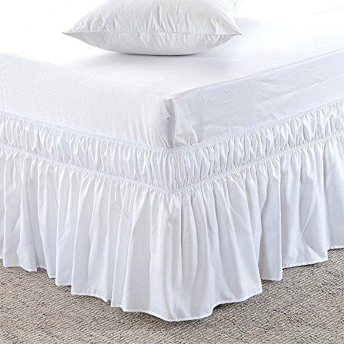 Wrap Around Elastic Bett Rock-Poly Baumwolle-Easy on/Easy Off Staub Kräuselband Bed Röcke Soft & Bett Ohne Falten Rock. Full-XL-15 inch Weiß (12 Zoll Bett Rock)