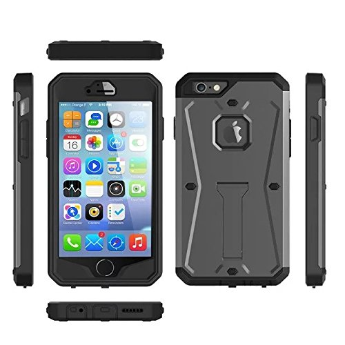 iPhone 6 Coque, iPhone 6S Coque, Valenth Tank 3 in 1 Hard Back Coque with Kickstand and Screen protector Waterproof Dual Layer Holster Hybrid Defender Cover Coque for iPhone 6/6S 4.7inch Silver gris