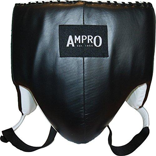Coquilla de boxeo Ampro de cuero MKII, color negro., Medium