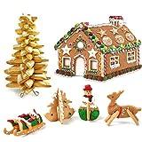 LJSLYJ 3D Weihnachten Lebkuchenhaus Form 10 Stücke Edelstahl Ausstecher Set DIY Biskuitform Gebäck Kuchen Backen Werkzeuge