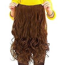 Contever® Onduladas Extensiones de Clip de Pelo Natural Pelucas Cabello del Salón de Belleza del Cabello para Mujer de La Moda de 55 cm (L) x 25 cm (W) - Dorado