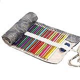 Aikesi trousse à crayon enroulable pour 48 crayons tissu sac à crayons arbre noir et blanc 48+2 trous grande capacité porte-crayons pochettes