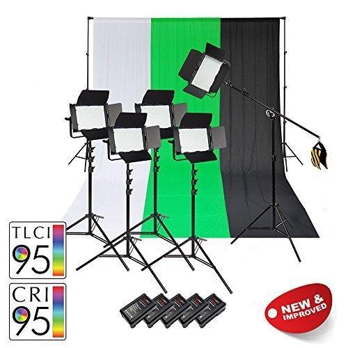 Pixapro vnix1000b zweifarbig Fünf 5 Punkt LED Video Beleuchtung Set mit V-Lock Batterien & Musselin Baumwolle Hintergrund & Ständer Chroma Key Grün Bildschirm Interview Film Youtube Tutorial Vlog -