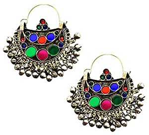 Mehrunnisa Traditional Afghani Earrings with Colored Glass For Girls (JWL1581)
