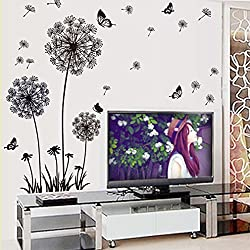 Amaonm Removable Diy Black Dandelion Butterfly Wall Stickers PVC Home Art Decoration Mural Wall Decal for Bedroom Sitting Bathroom Kitchen Bathroom Room Sofa Tv Background