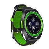 QHJ Smart Watch, Telefon Schrittzähler Sitzende Erinnern Sie Schlafmonitor HD-Kamera (Schwarz + Grün)