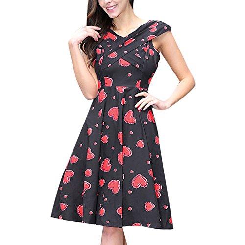 MNBS Femme Robes Vintage Classique 1950S Style Ourlet Imprimer Cœur Rouge