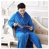 OMFGOD Herren Winter Bademantel groß dick lang Flanell Schlafanzug Mode Bequem Freizeit Nacht Kleid Blau, Bild, L