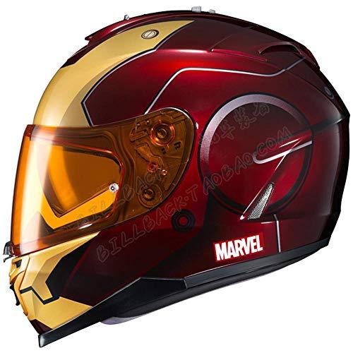 Marvel Iron Man Lente Doble Casco de Motocicleta
