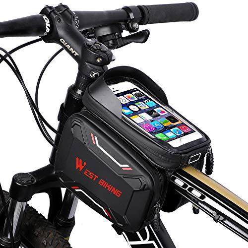 Fahrradtasche, Fahrrad Rahmentasche, Fahrrad Handytasche, Empfindlicher Touchscreen, Oberrohrtasche Handy Tasche, Wasserdicht, Radfahren Vorne Top Tube,Mountain Bike,Kopfhörerloch für 6.2Zoll Handy - Top-touchscreen-handys