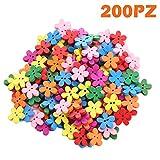 Tomkity 200 Pezzi Bottoni Colorati Decorativi in Legno per Cucito e Lavorazione Fai da Te