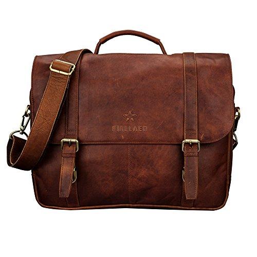 Echtes Leder flap-over Laptop Messenger Bag | finelaer - Klassische Flap Bag