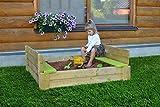Wendi Toys Sandkasten mit Deckel und Bank 116x117cm SandSeat Garten Sandkiste Sandmuschel Holz