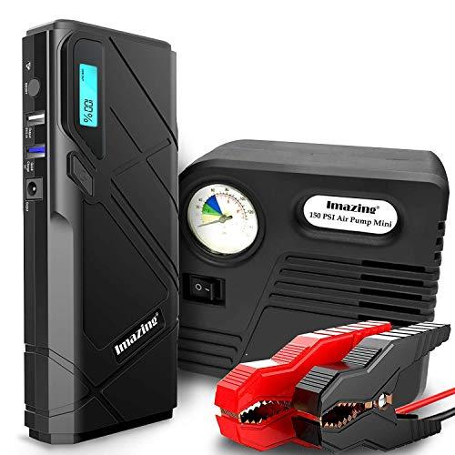 lfe,1500A Spitzenstrom 12000mAh SuperSafe Tragbare Autobatterie Anlasser Sofort Starthilfe Externer Akku Ladegerät mit 2 USB Ausgänge,auto Luftpumpen,LED Taschenlampe ()