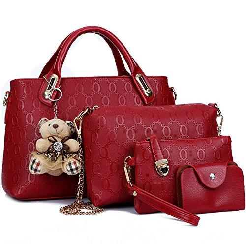 FiveloveTwo Damen 4Pcs Top Griff Satchel Hobo PU Leder Umhängetasche Handtasche Set Große Tasche + Geldbörse + Schultertasche + Kartenhalter rot