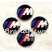 Set di 4 adesivi per coprimozzo e cerchi copriruota, di forma bombata, con logo BMW M Power in 3D con effetto cromato, diametro 56,5 mm - Centro Di Rotella Cap
