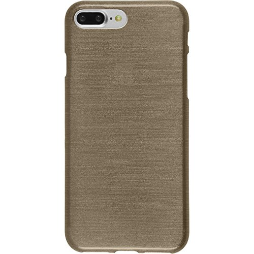 PhoneNatic Case für Apple iPhone 8 Plus Hülle Silikon silber brushed Cover iPhone 8 Plus Tasche + 2 Schutzfolien Gold