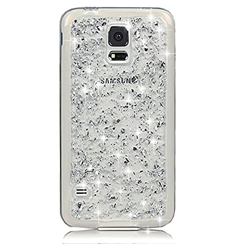 Sunroyal® Etui Transparent pour Samsung Galaxy S5 I9600 / S5 Neo Bling TPU Gel Coque Ultra Mince Paillette Case Cover Telephone Portable Soft Housse Cas Prime Flex Silicone Skin Protection Shell Coquille Couvrir Coverture Pare-Chocs Anti-Choc Bumper - Argent