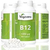 Vitamine B12 1000µg + B6 + Acide folique | 365 Capsules *Approvisionnement pour 1 An* | Méthylcobalamine | 100% végétalien Sans Additif et Gélatine | Remboursement garantie en cas d'insatisfaction | Fabriqué en Allemagne