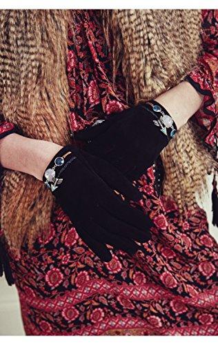 Gants en cuir, bijoux au poignet - STONY Noir