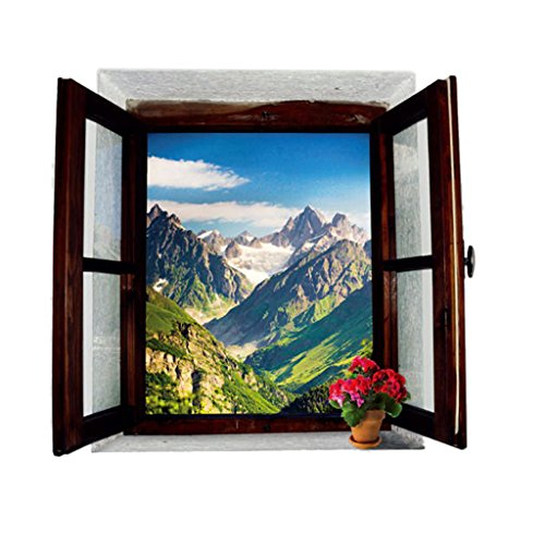 3D Pegatinas Etiqueta de Pared Vinilo Decorativo Escena de Montaña Adorno Calcomanía Sala Casa Hogar DIY