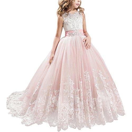 IBTOM CASTLE Blumenmädchen Festkleider Kleid Lang Brautjungfern Hochzeit Festlich Kleidung Festzug #6 Korallenrosa 6-7 ()