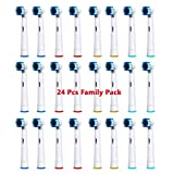 Banavos 24 Pcs Replacement Toothbrush Heads for Oral B - Round Head for Hard to Reach Areas