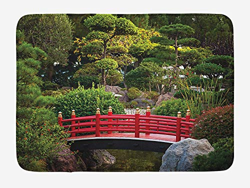 ASKYE Japanese Bath Mat, Bridge Over Pond in Japanese Garden Monte Carlo Monaco with Trees and Plants, Plush Bathroom Decor Mat with Non Slip Backing, 23.6 W X 15.7 W Inches, Red and Green