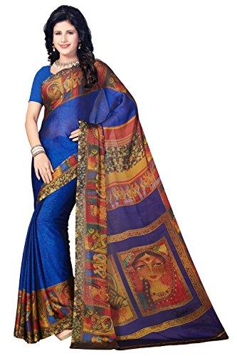 Rani Saahiba Satin Georgette Digital Print Saree (SKR3769_Blue)