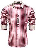 Burlady Trachtenhemd Herren Hemd Kariert Oktoberfest Cargohemd Baumwolle Freizeit Hemden Super Qualität- Gr. XXL, Winerot