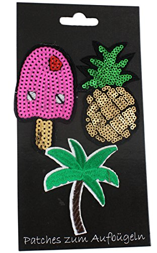 Sonia Originelli Patches 3er Set Aufbügler Aufnäher Flicken Bügelbild Eis Ice cream Palme Ananas PinappleGlitzer Pailletten TA001 (Ananas-palme)