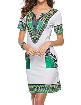 Vestido de verano de las señoras hibote Casual corto con cuello en v Vestidos africanos atractivos Mini vestido...