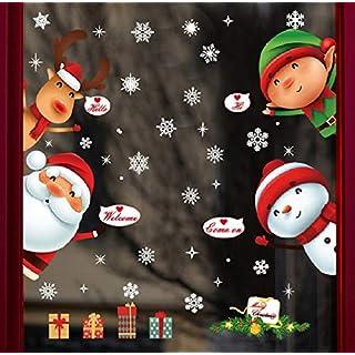 UMIPUBO NoëL Autocollants Fenetre NoëL Stickers Décoration DIY Fenêtres Stickers Porte de Noël Autocollant Amovibles Statique Autocollants DéCalcomanie (NoëL)