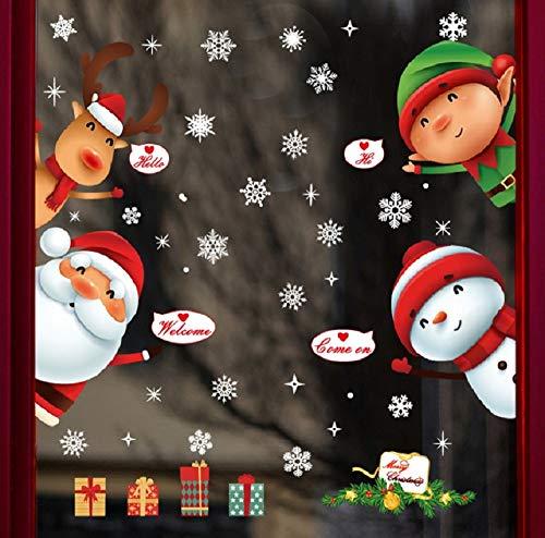 UMIPUBO Weihnachten Aufkleber Weihnachtsmann-Schneemann-Elch-Kinder Öffne die Tür Aufkleber Fensteraufkleber PVC Entfernbarer Elektrostatischer Aufkleber Weihnachtssticker Türaufkleber (Weihnachten) (Dekorieren Sie Die Tür Für Weihnachten)