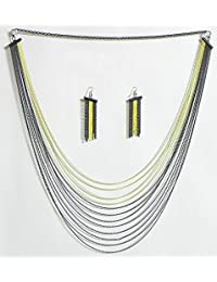 DollsofIndia Four Layer Yellow Color And Eight Layer Black Color Metal Necklace And Earrings - Metal (GK01-mod...