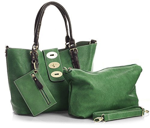 Big Handbag Shop Damen-Handtasche, Make-up-Beutel, 3-in-1 Lush Grün
