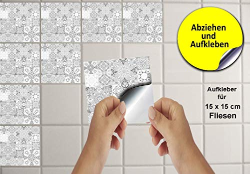 24 Fliesenaufkleber für Küche und Bad Mosaik Wandfliese Aufkleber für 15x15 cm Fliesen Fliesen-Aufkleber Folie Deko-Fliesenfolie für Küche u. Bad