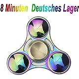 Hand Fidget Spinner Mehrfarbig Multicolor Rainbow, GIM 8 Minuten Extra DIY Deutsche Lager Haltung Spinnere Metall, Fingertip Gyro EDC Tri Spinner(Runde)